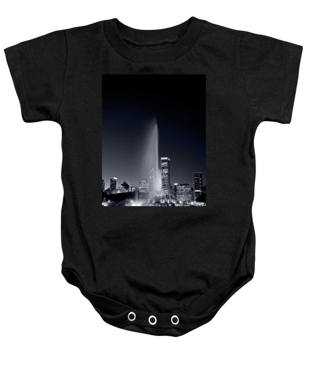 Black Baby Onesie featuring the photograph Chicagos Buckingham Fountain Bl And W Portrait by Steve Gadomski