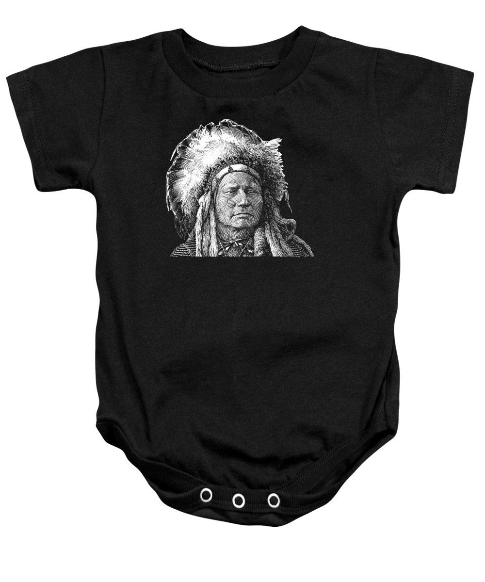 Running Antelope Baby Onesie featuring the digital art Chief Running Antelope - Native American History by War Is Hell Store
