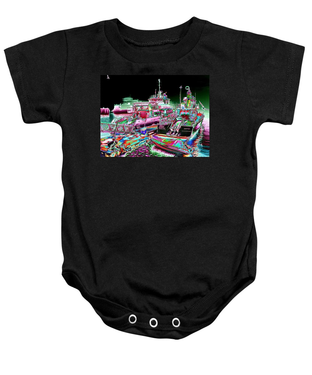 Seattle Baby Onesie featuring the digital art Chief Seattle in the Fog by Tim Allen