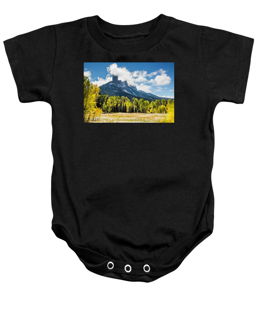Autumn Baby Onesie featuring the photograph Chimney Rock Autumn by Daryl L Hunter