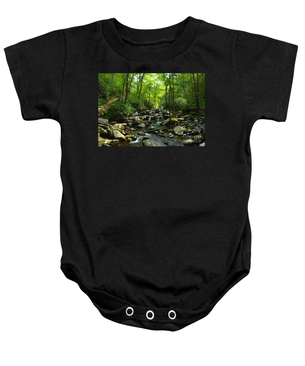 Trail Baby Onesie featuring the photograph Chimney Tops Trail by David Lee Thompson