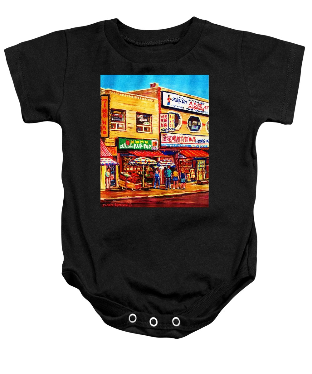 Montreal Baby Onesie featuring the painting Chinatown Markets by Carole Spandau