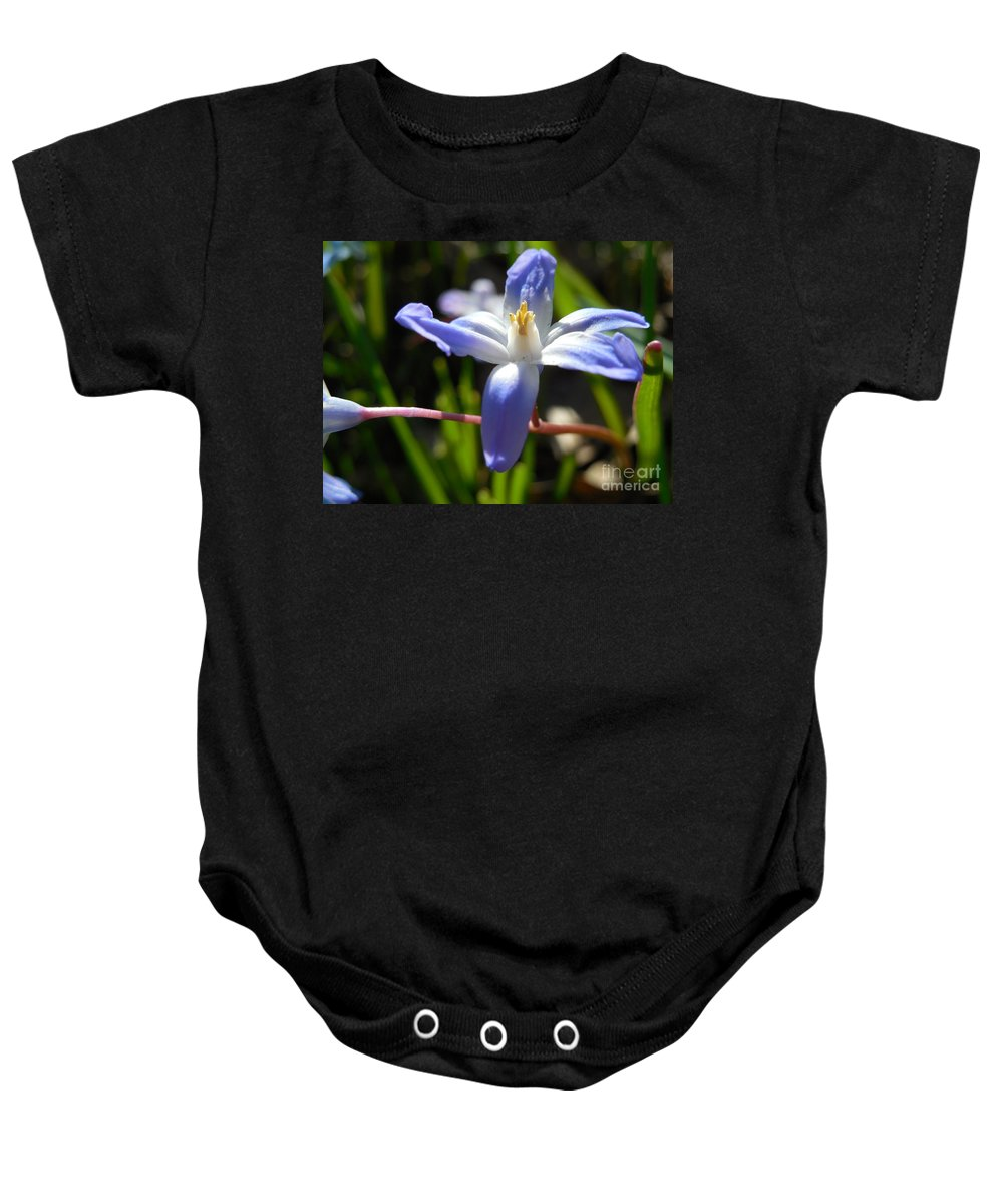 Glory Of The Snow Baby Onesie featuring the photograph Chionodoxa by Rowena Throckmorton