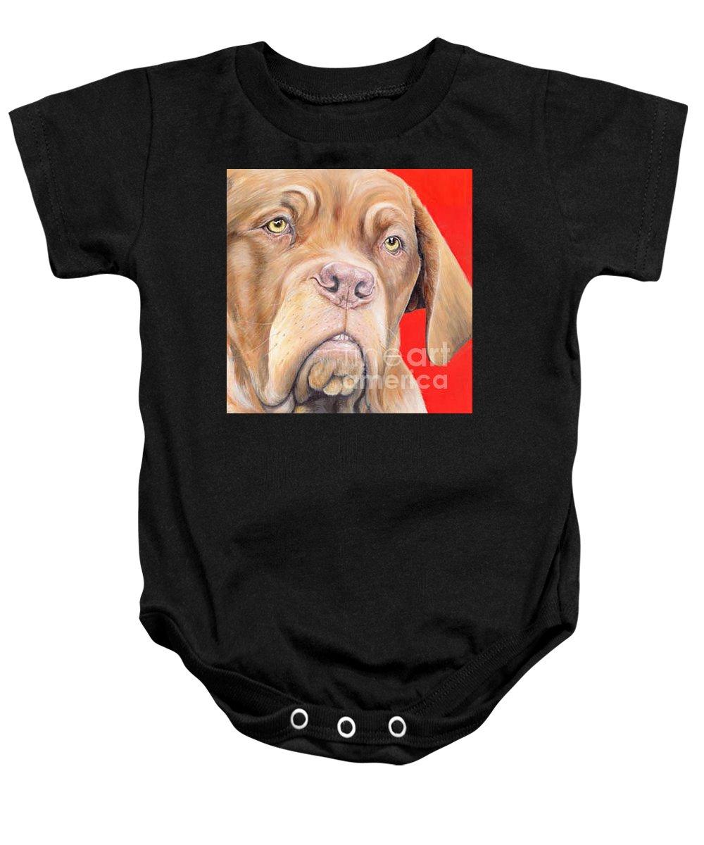 Dogs De Bordeaux Baby Onesie featuring the painting Chloe by Keran Sunaski Gilmore