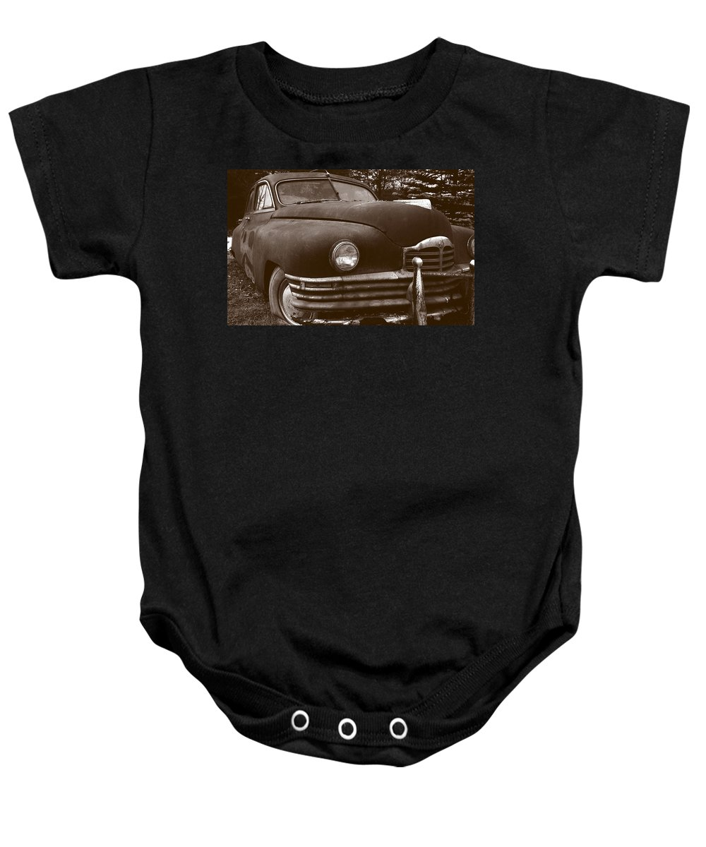 Old Car Baby Onesie featuring the photograph Chocolate Moose by Jean Macaluso