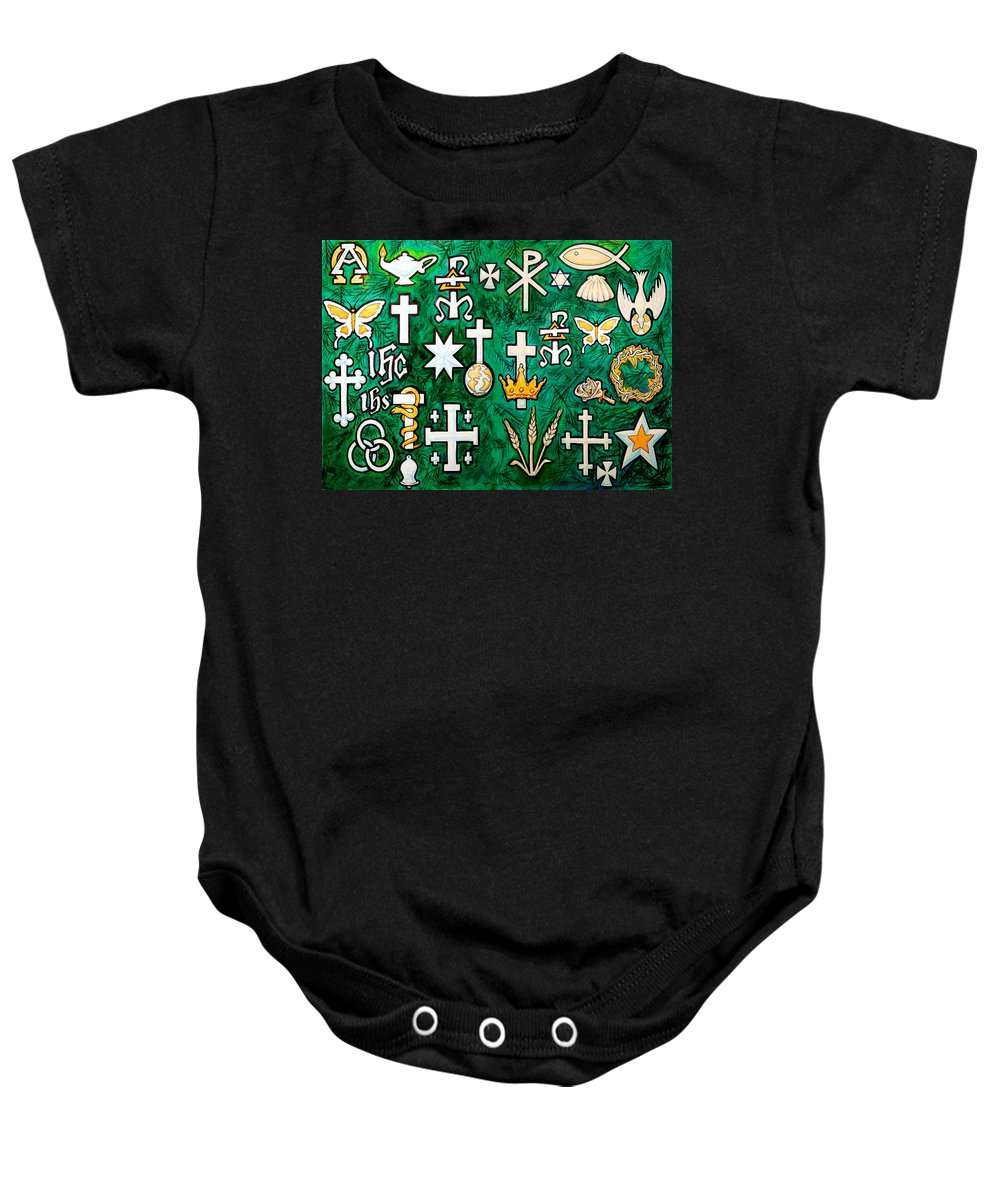 Chrismons Baby Onesie featuring the greeting card Chrismons by Kevin Middleton