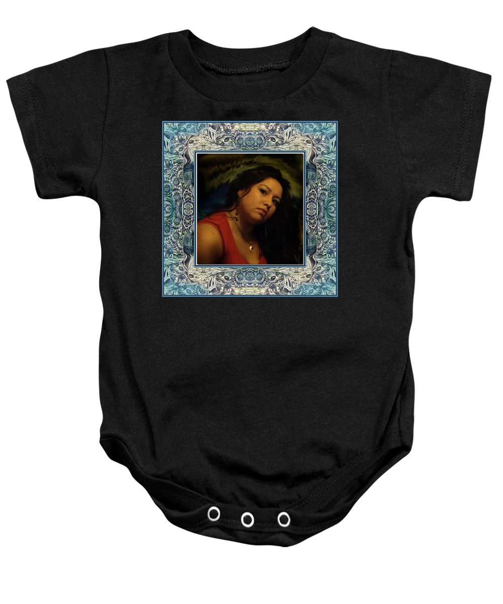 Portrait Glamour Fantasy Muse Baby Onesie featuring the digital art Christan Cameo by Otto Rapp