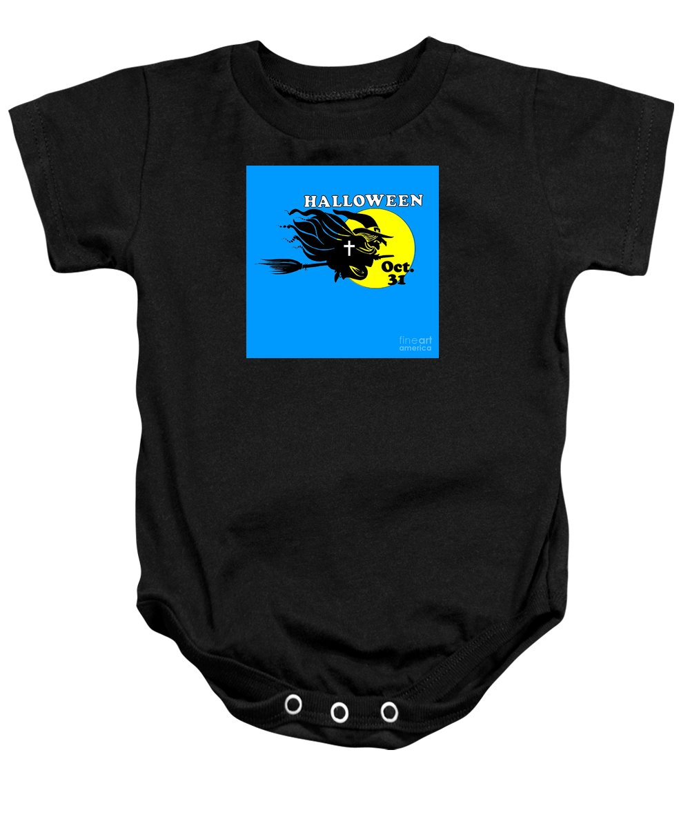 Religion Baby Onesie featuring the digital art Christian Halloween Witch by Frederick Holiday