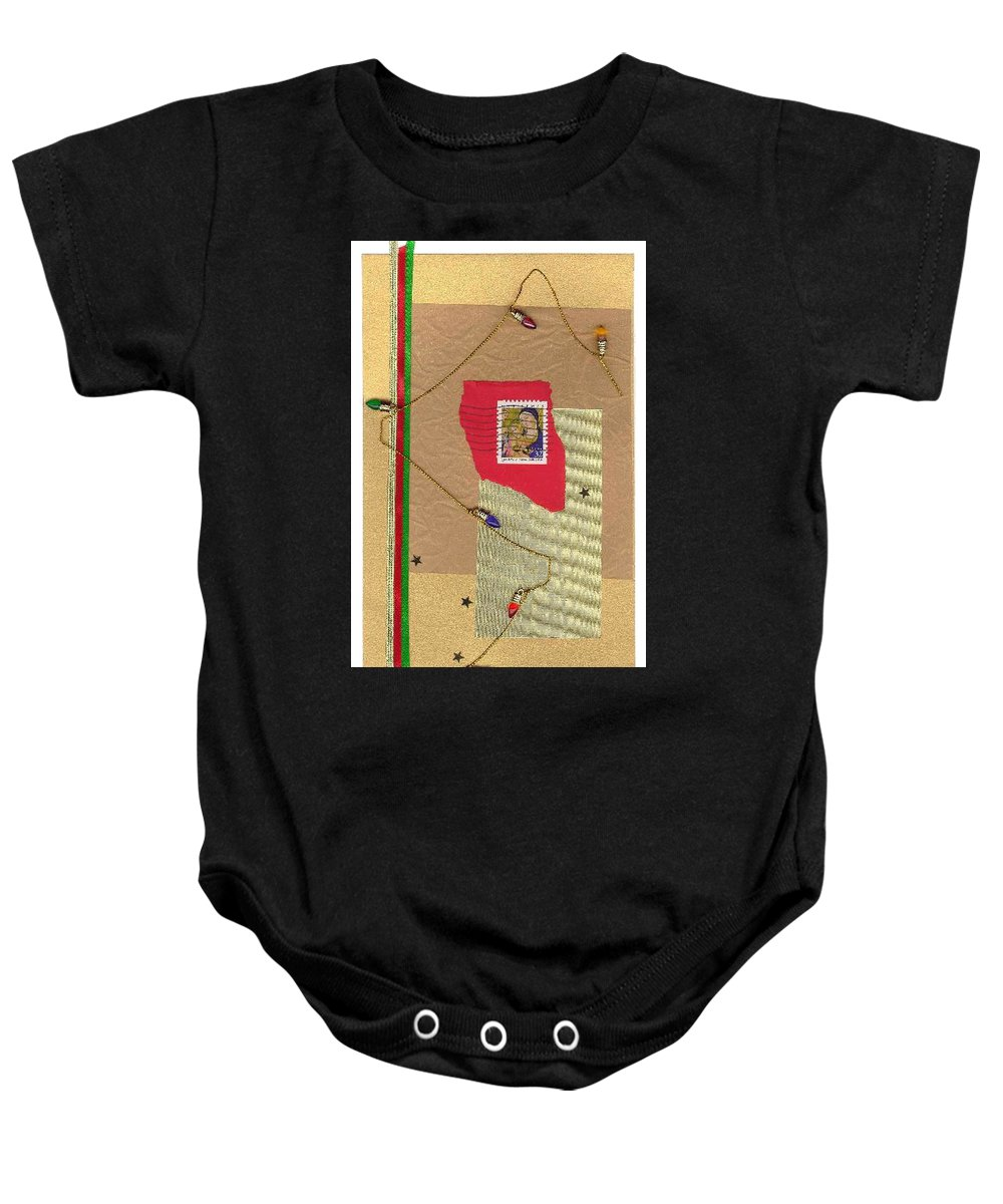 Christmas Baby Onesie featuring the mixed media Christmas Card by Steve Karol