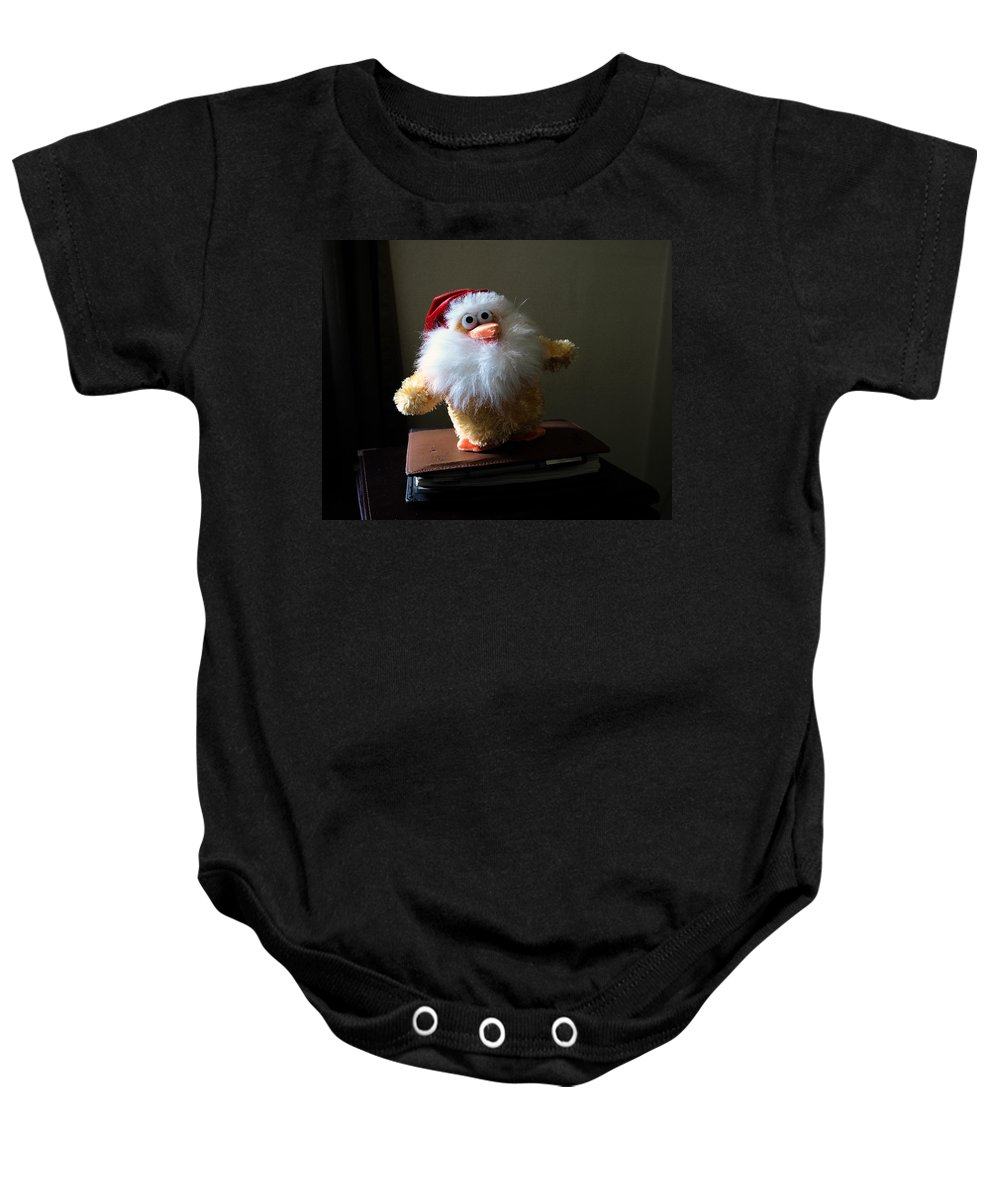 Chicken; Leftover; Appeal; Mercy; Bird; Fowl; Meal; Eat; Food; Pathos; Stuffed; Animal; Plead; Compa Baby Onesie featuring the photograph Christmas Chicken by Allan Hughes