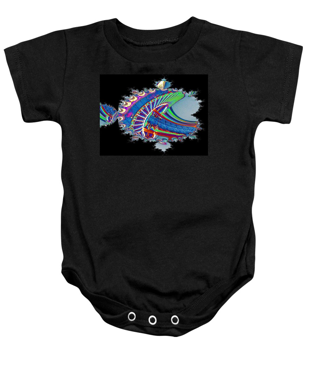 Seattle Baby Onesie featuring the digital art Christmas Needle In Fractal by Tim Allen