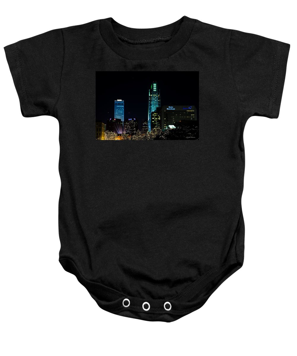 Winter Scene Baby Onesie featuring the photograph Christmas Time In Omaha by Edward Peterson