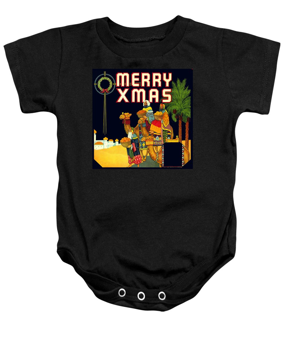 Xmas Baby Onesie featuring the digital art Christmas Wise Men Xmas by Marianne Dow