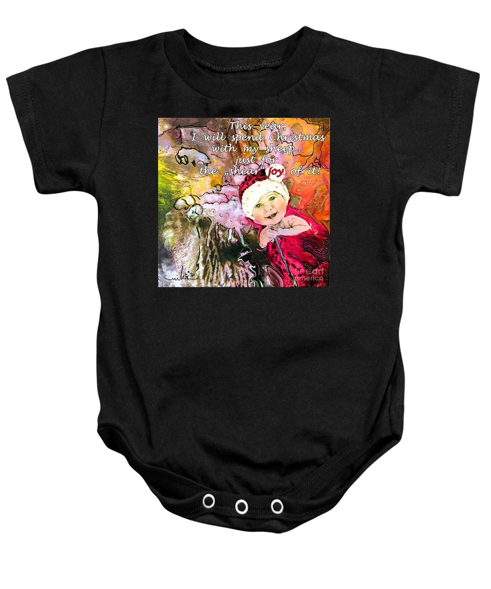 Acrylics Baby Onesie featuring the painting Christmas With My Sheep by Miki De Goodaboom