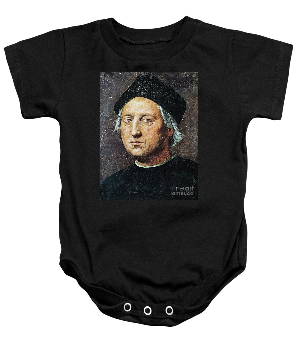 15th Century Baby Onesie featuring the painting Christopher Columbus by Granger