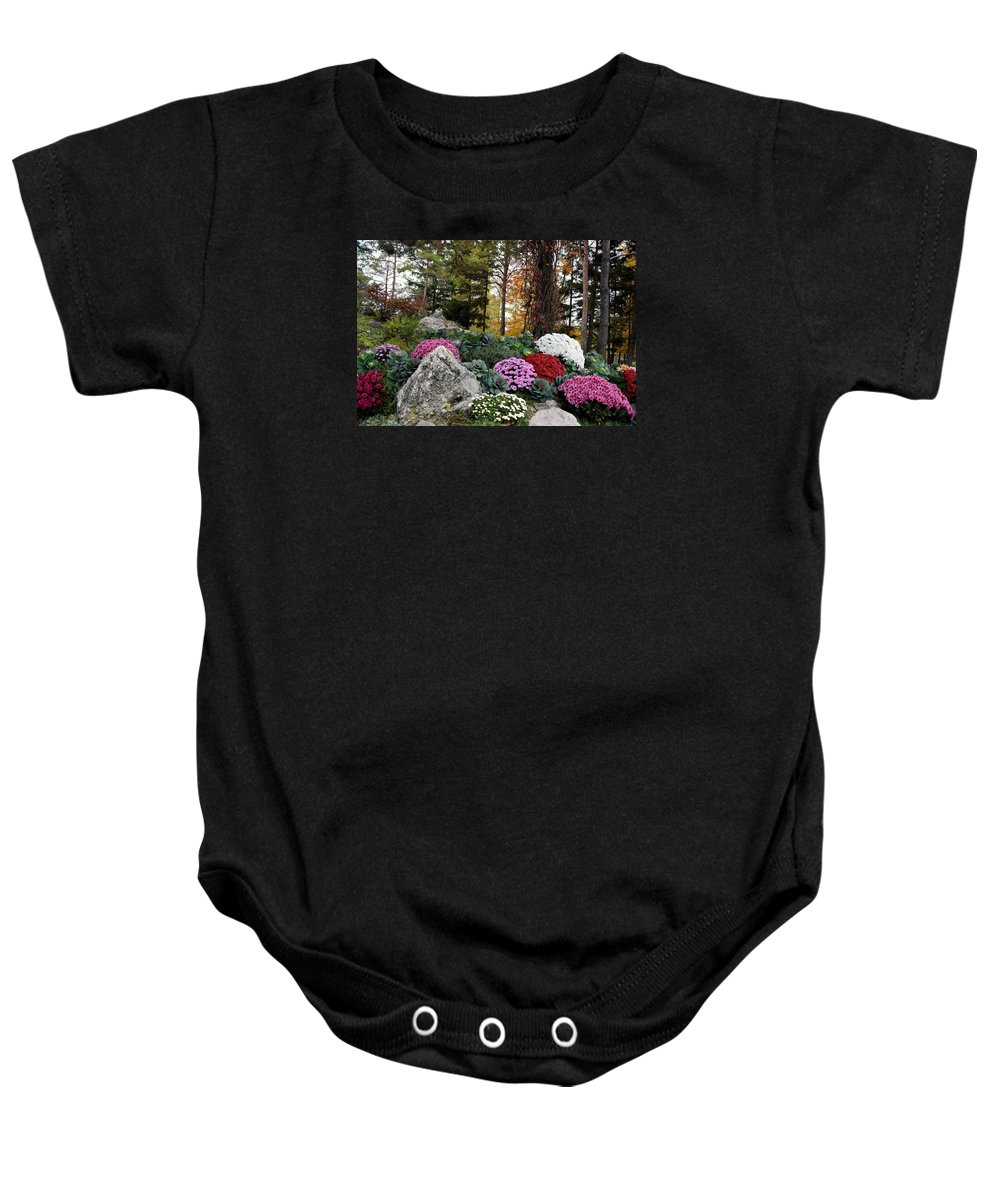 Chrysanthemums Baby Onesie featuring the photograph Chrysanthemums In The Garden by Camelia C