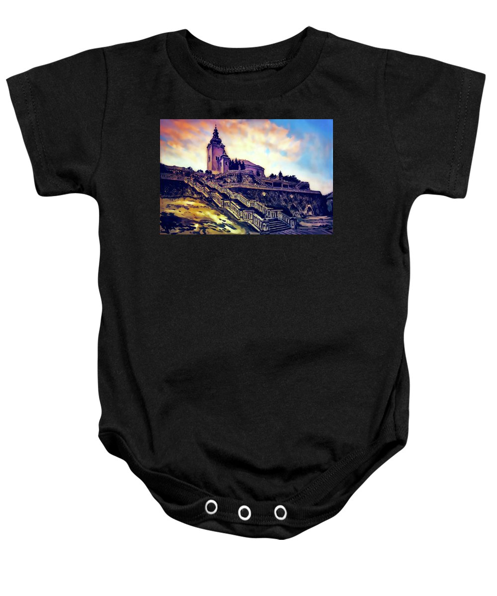 Church Baby Onesie featuring the painting Church Dominant With Decorative Historical Staircase, Graphic Work From Painting. by Jozef Klopacka