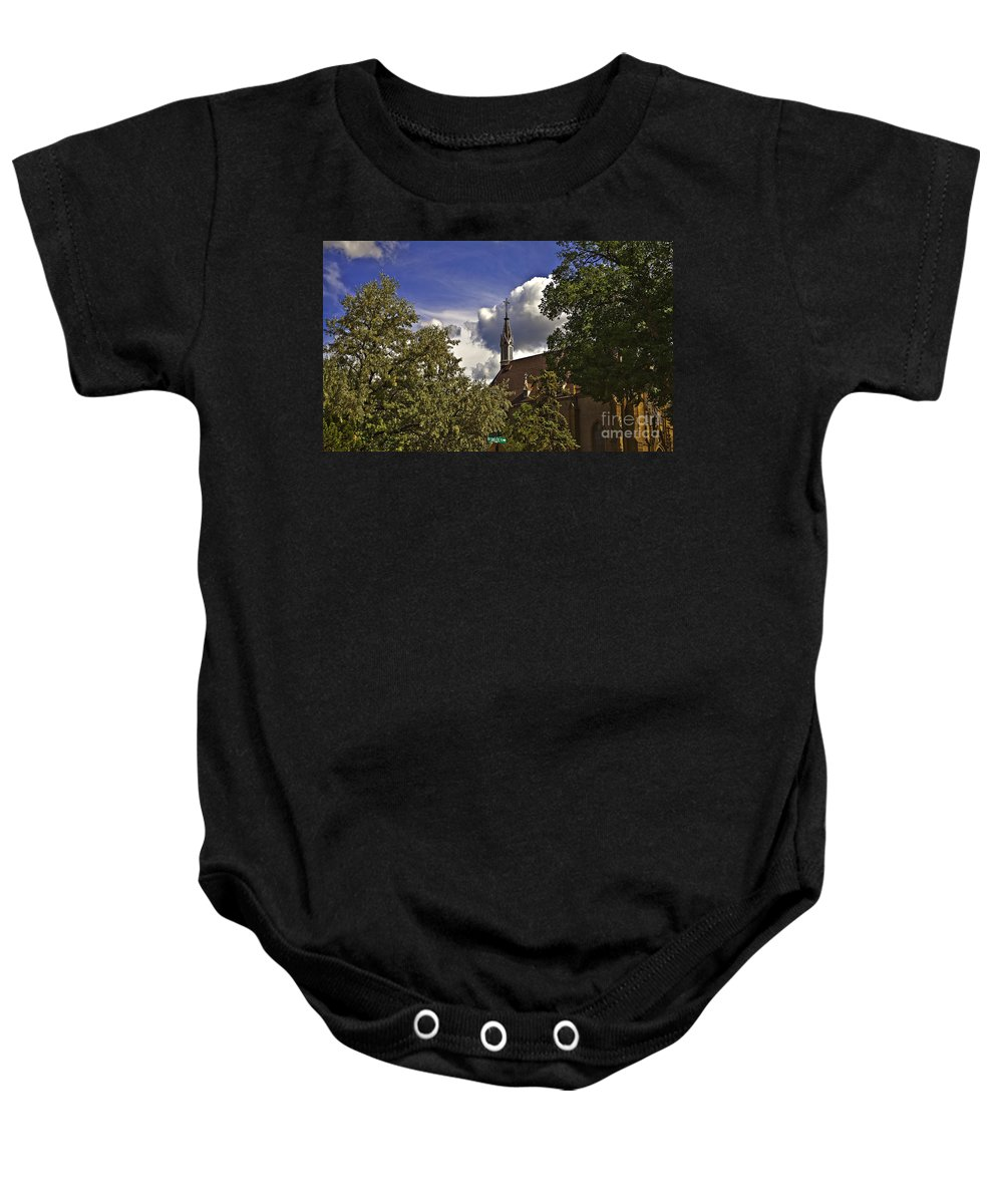 Church Baby Onesie featuring the photograph Church In Santa Fe by Madeline Ellis
