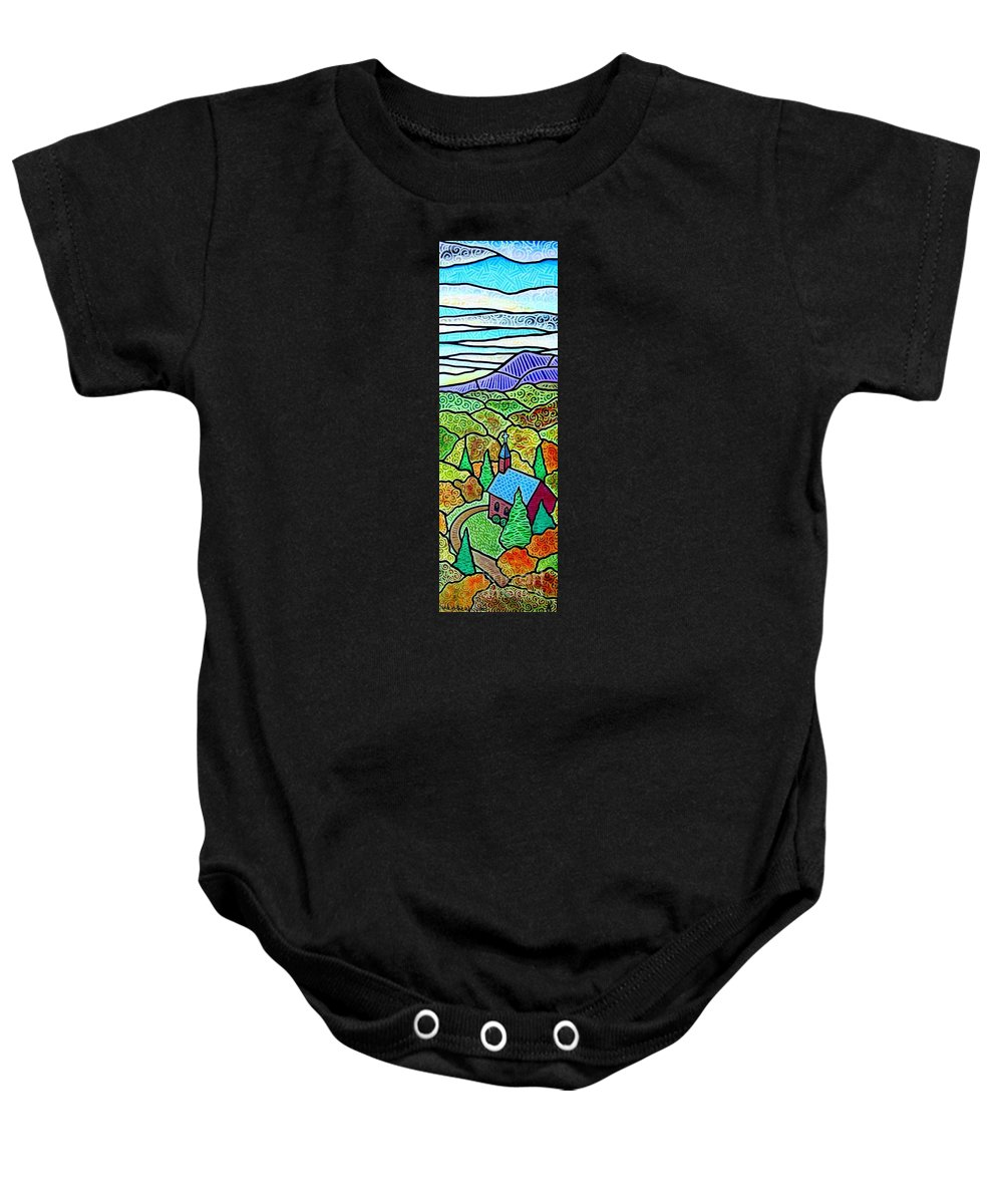 Church Baby Onesie featuring the painting Church In The Wildwood by Jim Harris