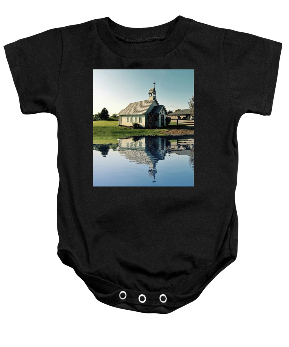Reflection Baby Onesie featuring the photograph Church Reflection by Doris Aguirre