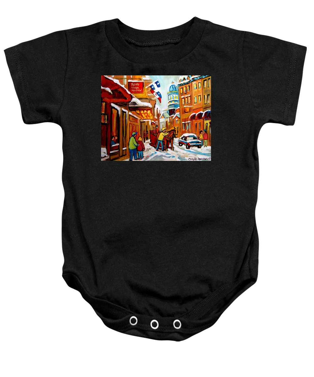 Church Steeet In Winter Baby Onesie featuring the painting Church Street In Winter by Carole Spandau