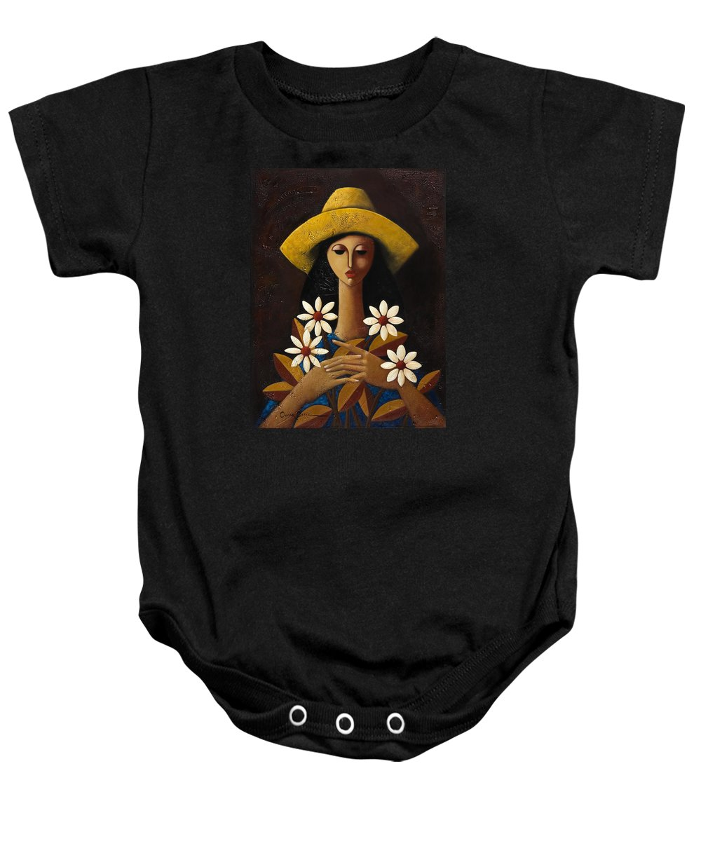 Puerto Rico Baby Onesie featuring the painting Cinco Margaritas by Oscar Ortiz
