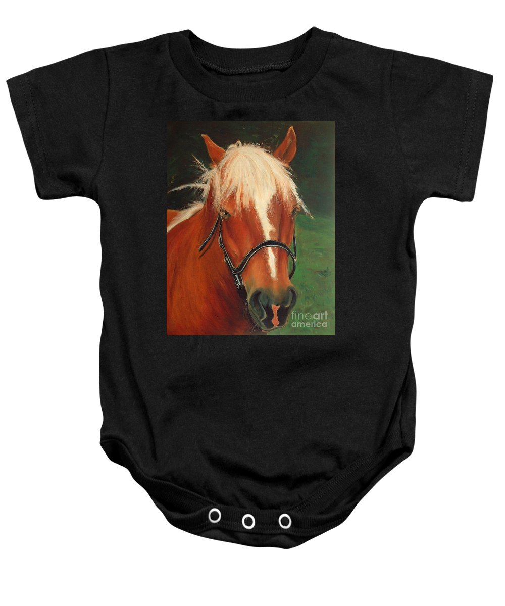 Euqestrian Art Baby Onesie featuring the painting Cinnamon The Horse by Portraits By NC