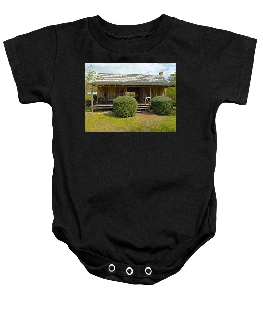 Cabin Baby Onesie featuring the photograph Circa 1900 Dogtrot Cabin Of Ephriam Brown From Lake Mills Florida by Allan Hughes