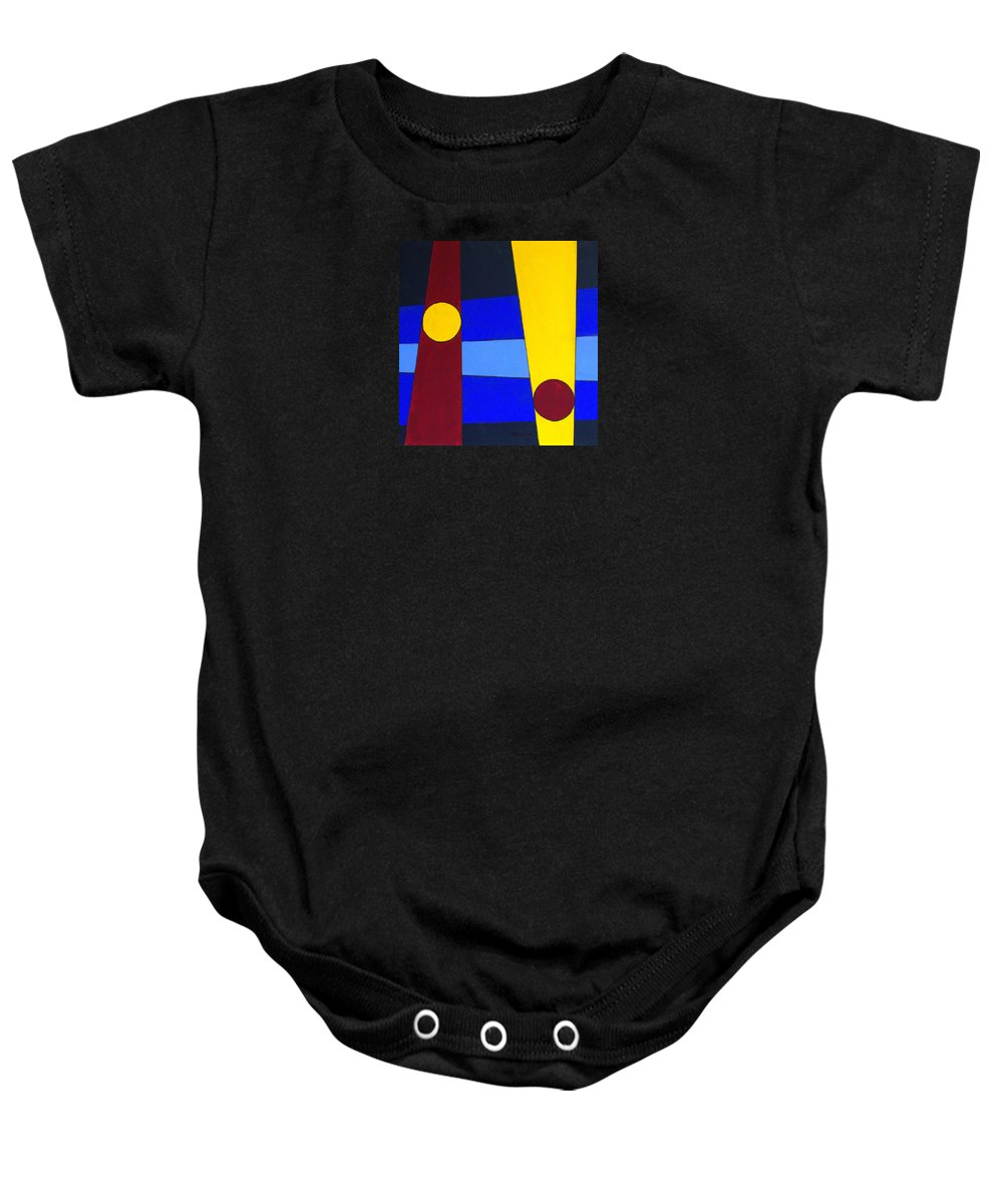 Abstract Baby Onesie featuring the painting Circles Lines Color by J R Seymour