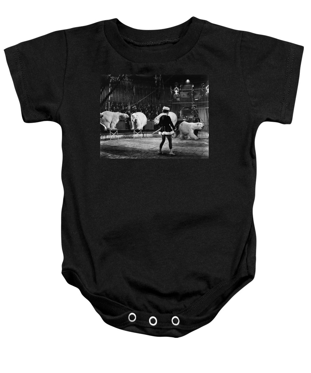 1930 Baby Onesie featuring the photograph Circus: Polar Bears by Granger