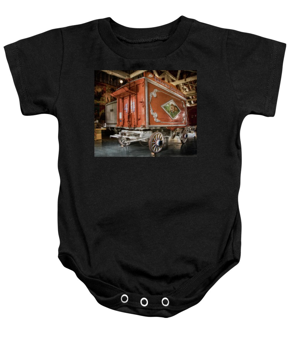Dusk Baby Onesie featuring the photograph Circus Wagon by Jim Bembinster