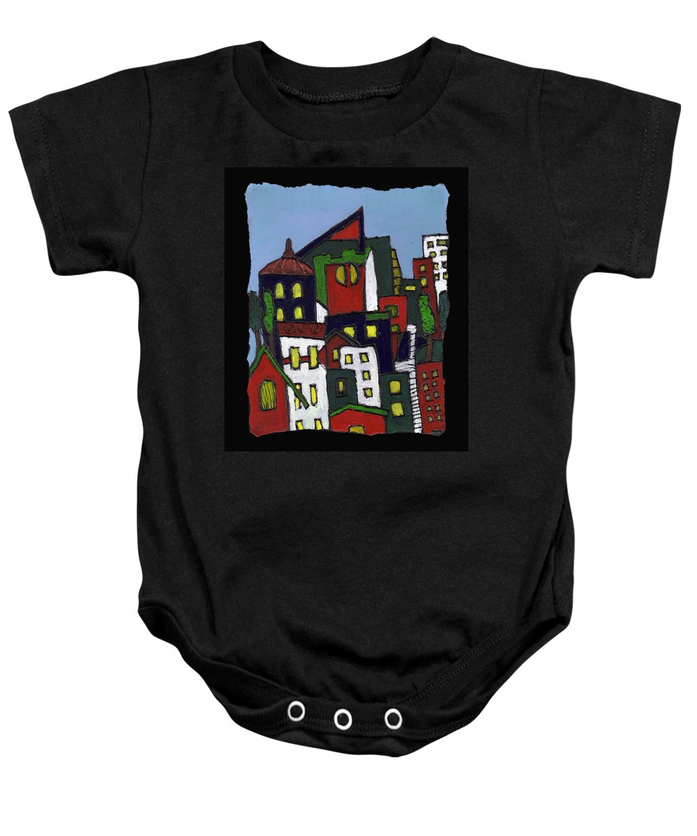 City Baby Onesie featuring the painting City At Christmas by Wayne Potrafka