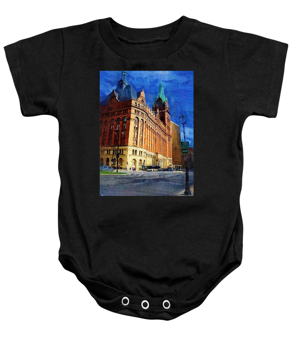 Architecture Baby Onesie featuring the digital art City Hall And Lamp Post by Anita Burgermeister