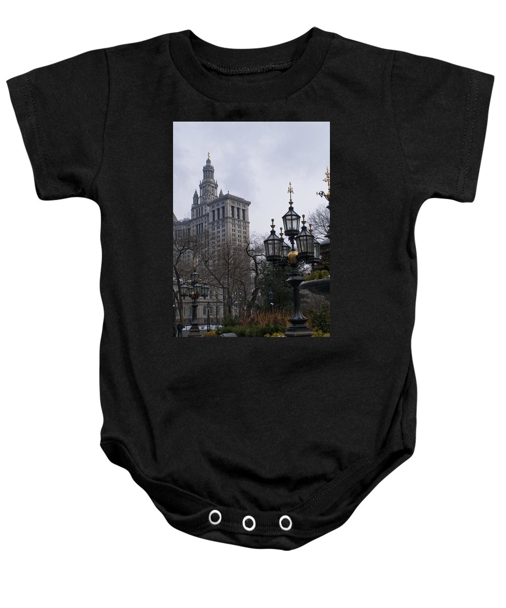 City Baby Onesie featuring the photograph City Hall Area Nyc I by Henri Irizarri