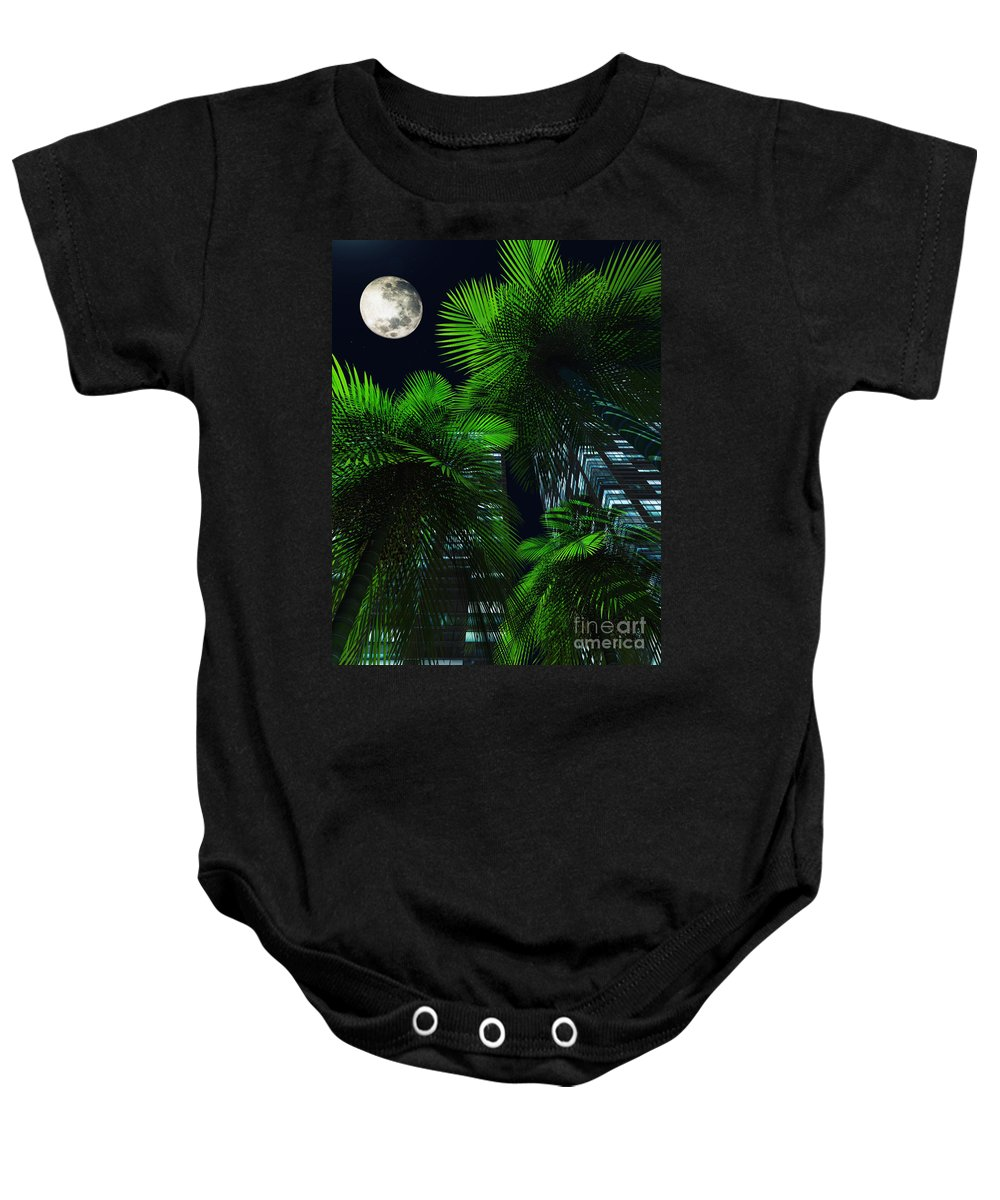 Tropics Baby Onesie featuring the digital art City Nights by Richard Rizzo