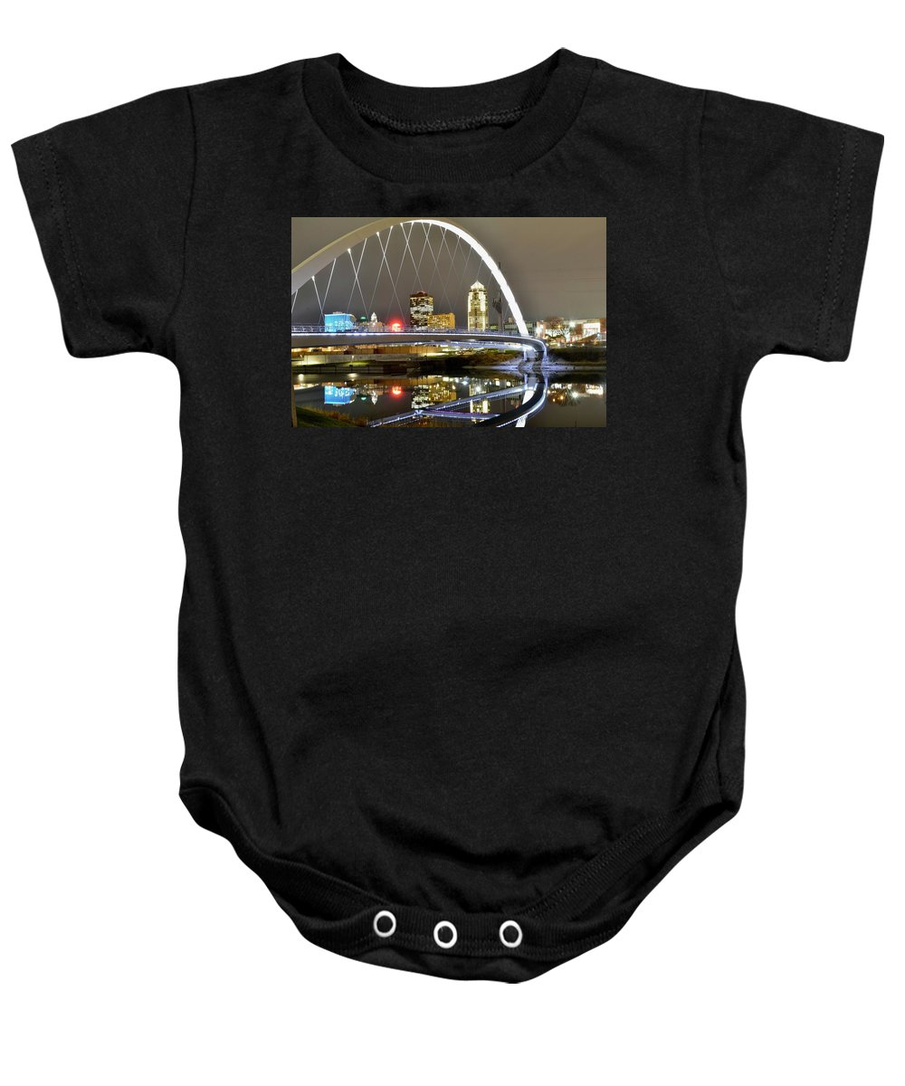 Des Moines Baby Onesie featuring the photograph City Of The Midwest by Justin Langford