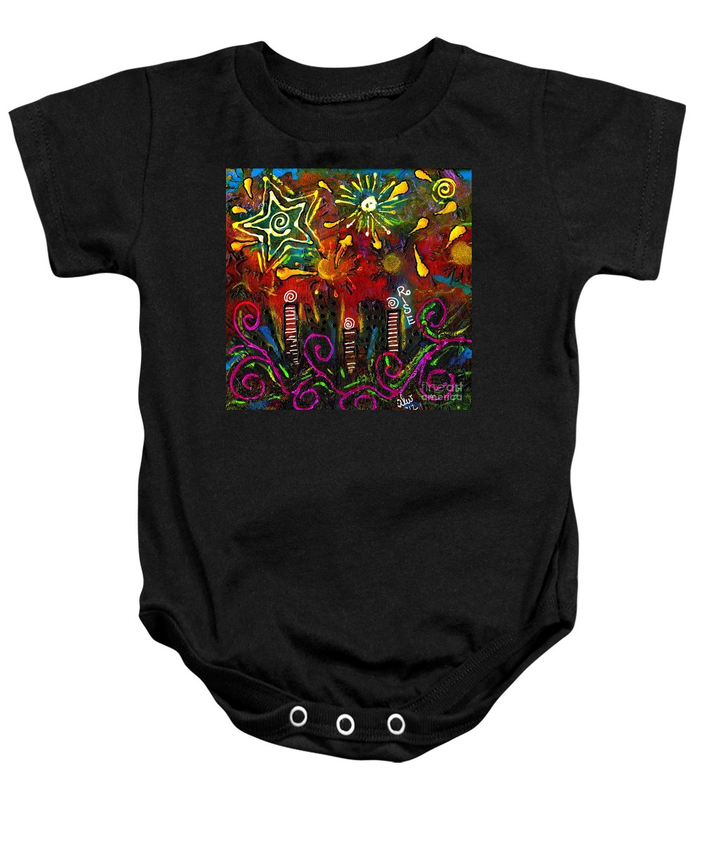Riverfront Baby Onesie featuring the painting City On The Rocks by Angela L Walker