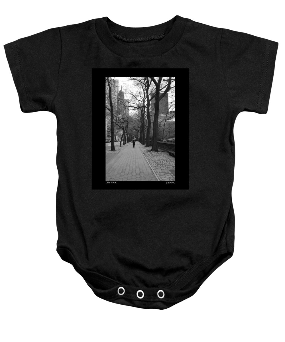Black Baby Onesie featuring the photograph City Walk by J Todd