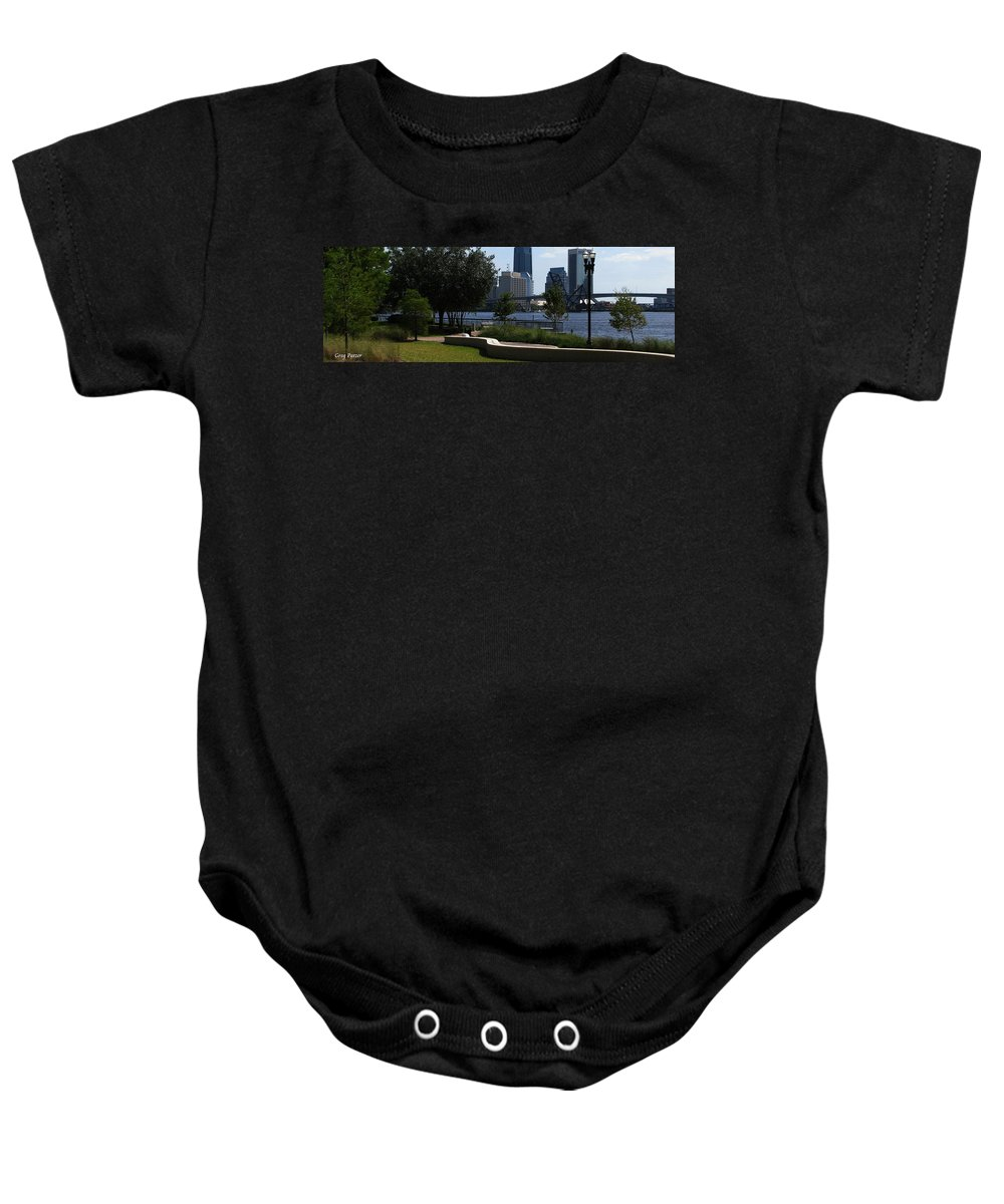 Art For The Wall...patzer Photography Baby Onesie featuring the photograph City Way by Greg Patzer