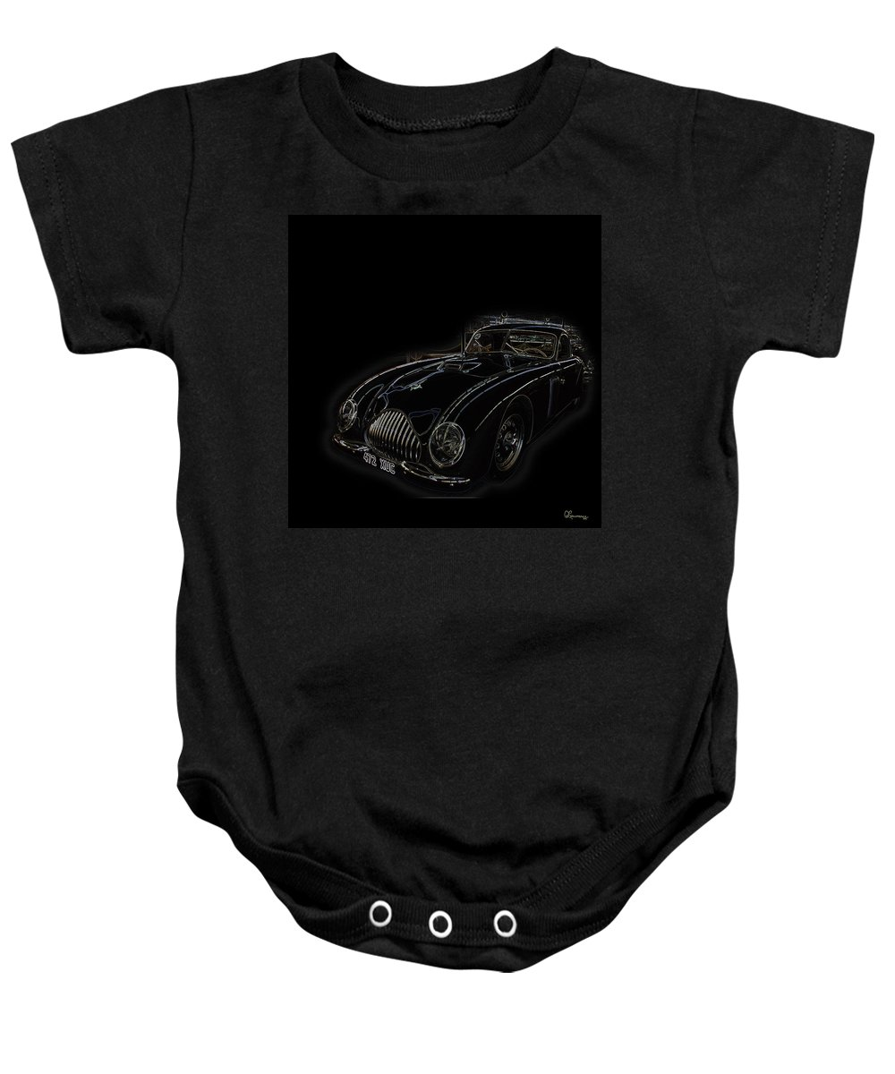 Classic Car Antique Show Room Vehicle Glowing Edge Black Light Chevy Dodge Ford Ride Baby Onesie featuring the photograph Classic 2 by Andrea Lawrence