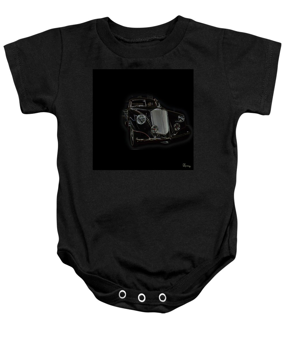 Classic Car Antique Show Room Vehicle Glowing Edge Black Light Chevy Dodge Ford Ride Baby Onesie featuring the photograph Classic 4 by Andrea Lawrence