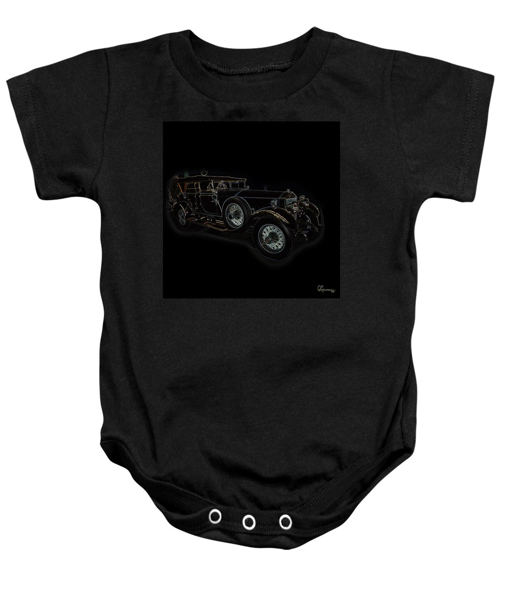 Classic Car Antique Show Room Vehicle Glowing Edge Black Light Chevy Dodge Ford Ride Baby Onesie featuring the photograph Classic 5 by Andrea Lawrence