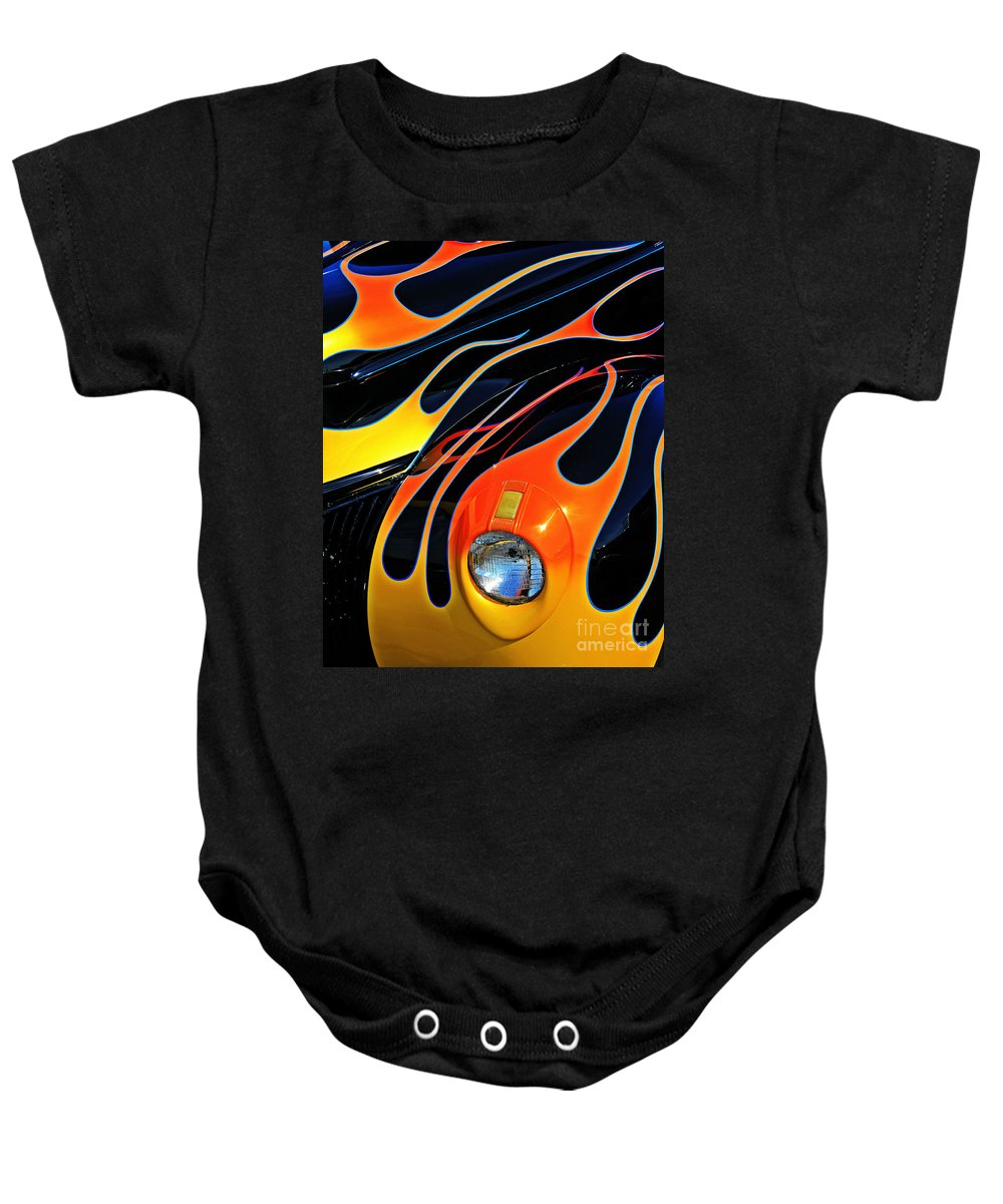 Hot Rod Baby Onesie featuring the photograph Classic Flames by Perry Webster