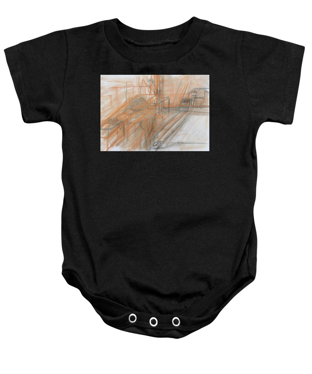 A Class We Did On Space And Dimension Concerning Perspective And Composition. Baby Onesie featuring the drawing Classwork by David Owen