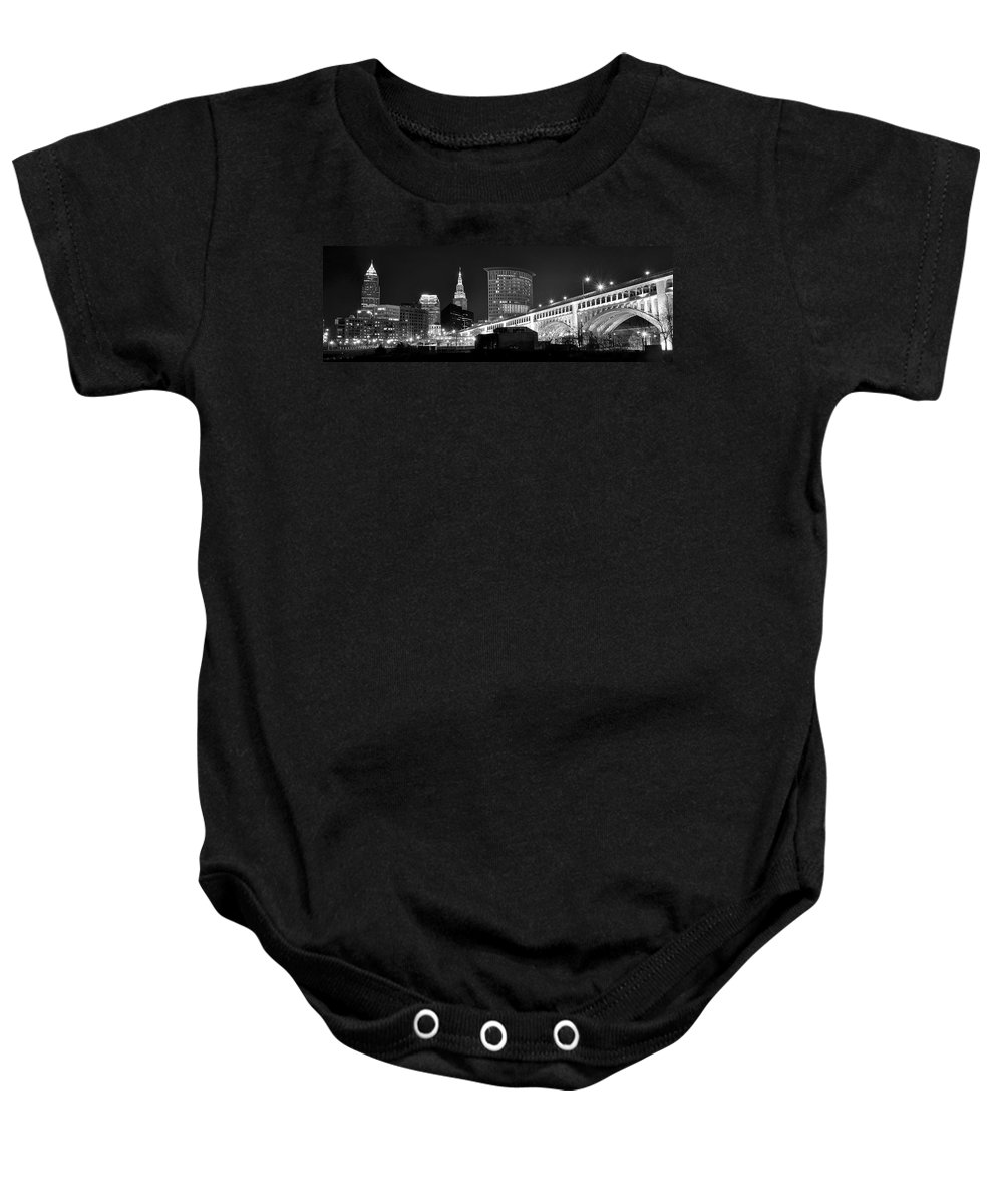 Cleveland Baby Onesie featuring the photograph Cleveland Black And White Panoramic by Frozen in Time Fine Art Photography