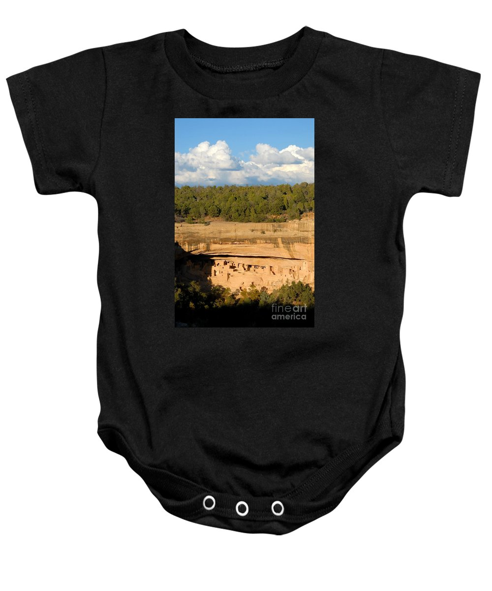 Cliff Palace Baby Onesie featuring the photograph Cliff Palace Landscape by David Lee Thompson