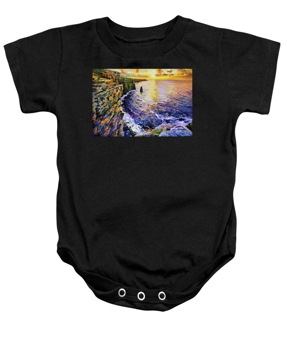 Cliffs Of Moher Baby Onesie featuring the painting Cliffs Of Moher At Sunset by Conor McGuire