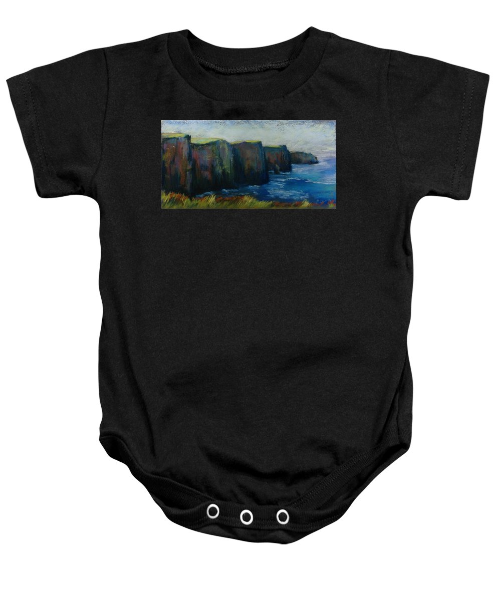 Seascape Baby Onesie featuring the pastel Cliffs Of Moher by Pat Snook