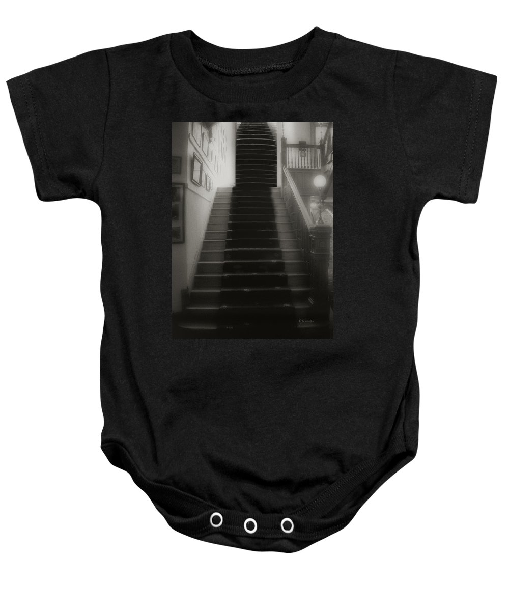 Black And White Baby Onesie featuring the photograph Climbing Toward The Unknown by RC DeWinter