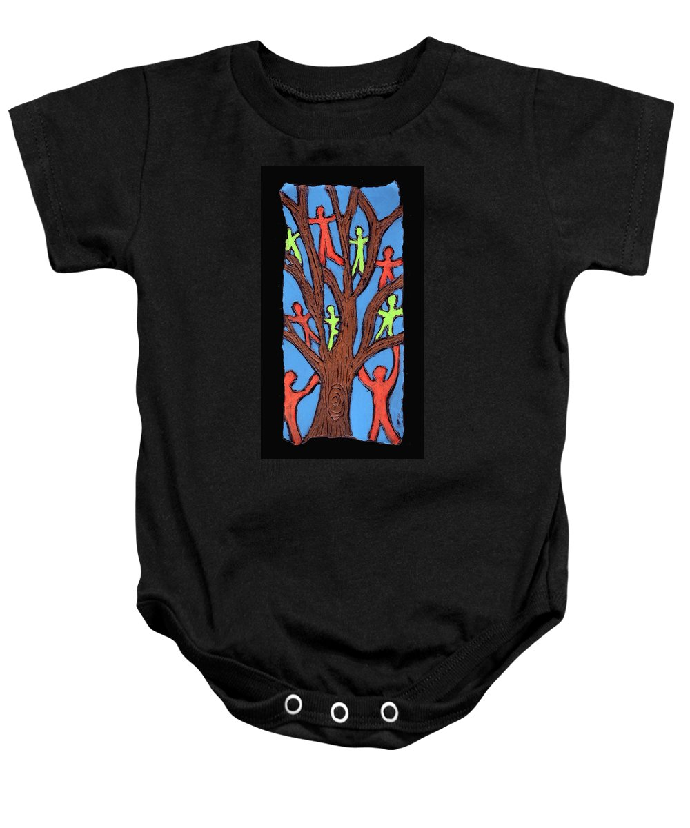 People Baby Onesie featuring the painting Climbing by Wayne Potrafka